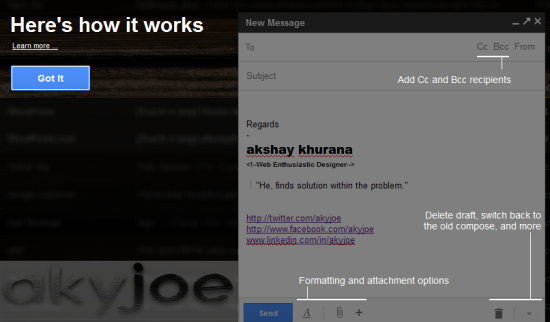 Gmail Compose Window Feature