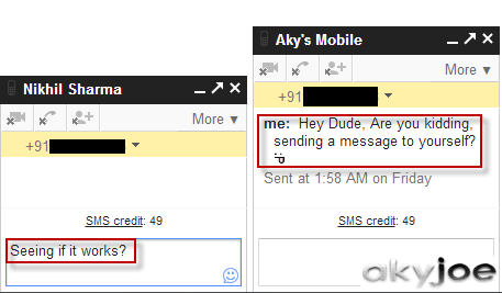 SMS from Google Chat Window