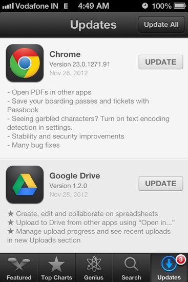 Google Chrome and Drive Update for IOS