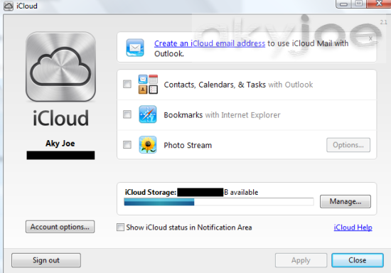 New itunes 11 iCloud Control Panel Screen