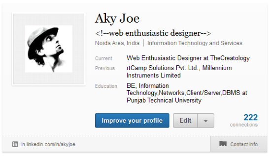 Old LinkedIn Profile Preview