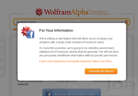 Facebook Personal Report from Wolfram Alpha