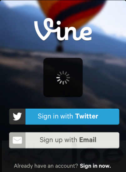 Vine IOS App Login Screen