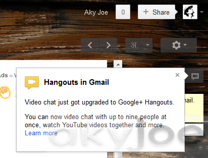 Gmail Launch Hangouts Within
