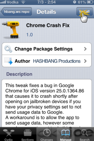 Install Chrome Crash Fix Package