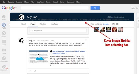 New Google Profile Floating Bar