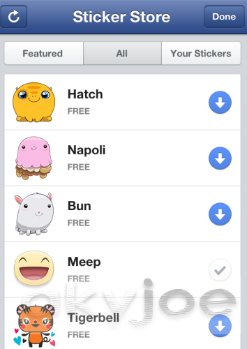 Facebook Chat Stickers Store