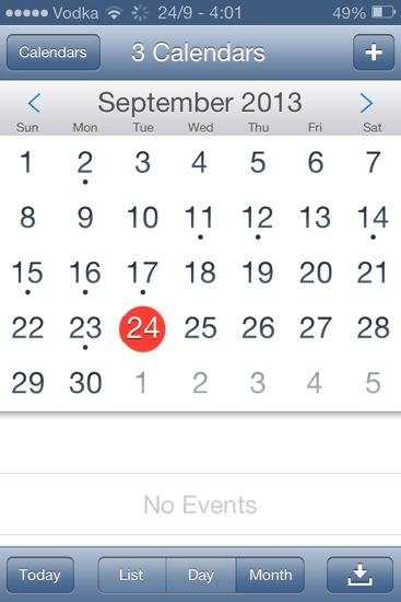 IOS7 Calendar Theme on iPhone