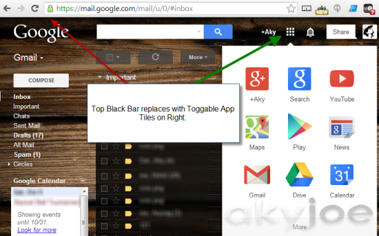 Google Top Bar Replaces App Tiles
