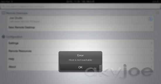 RD Client IOS App Error Host is Not Reachable