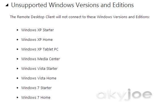 RD Client Unsupported Windows Versions