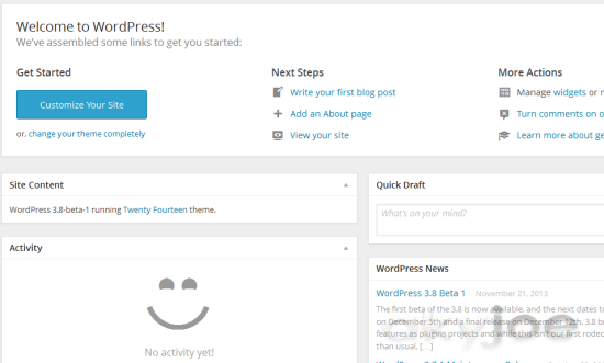 WordPress 3.8 Dashboard Interface