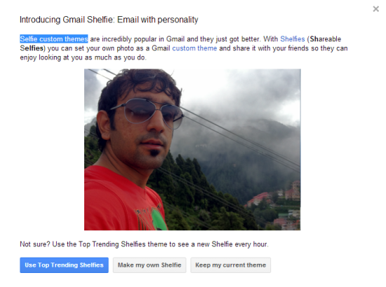 Gmail Custom Theme with Selfie