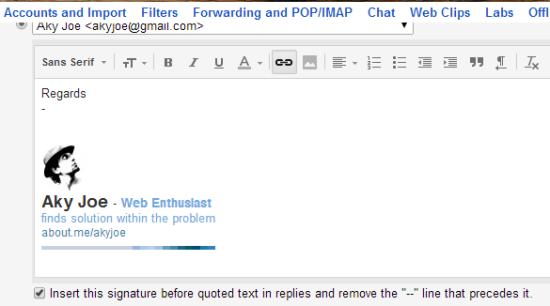 Custom Gmail Signature using AboutMe