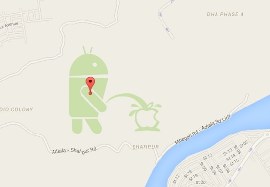 Android Peeing on Apple Logo Funny Image